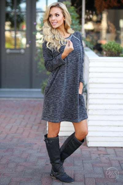 Decide Your Destiny Dress - Heathered Black long sleeve shift dress, side, Closet Candy Boutique