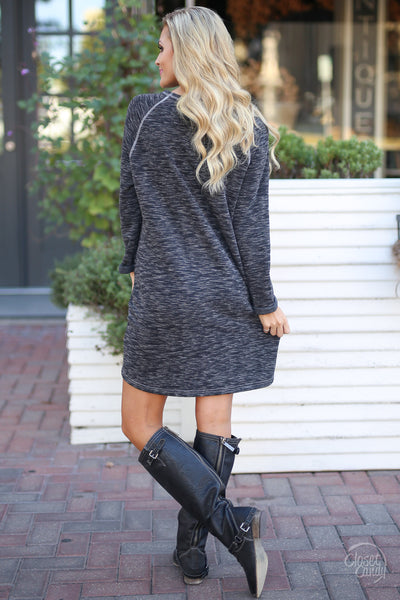 Decide Your Destiny Dress - Heathered Black long sleeve shift dress, back, Closet Candy Boutique