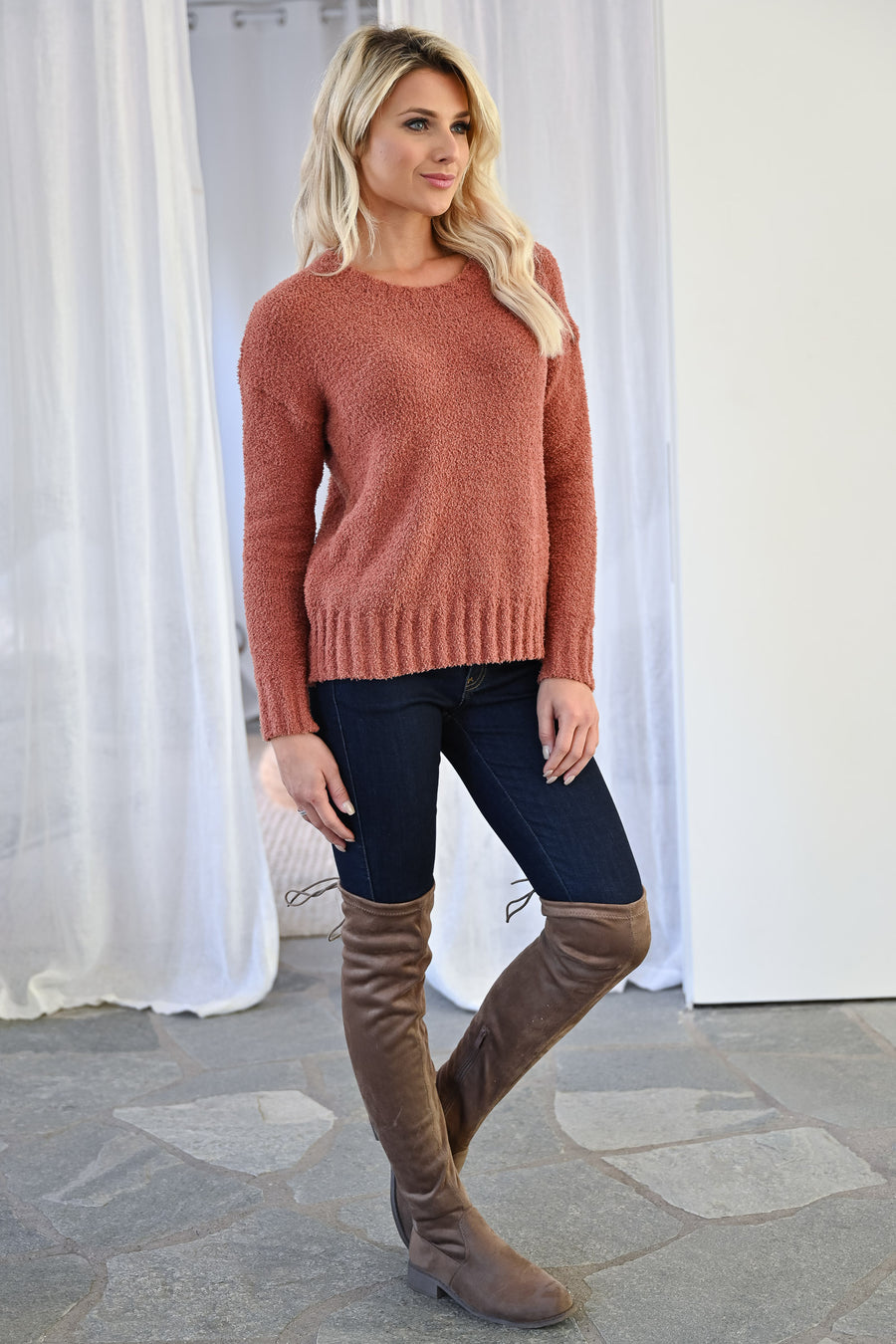 Won't Fall Fuzzy Sweater - Rust womens casual super soft fuzzy long sleeve ribbed trim sweater closet candy front
