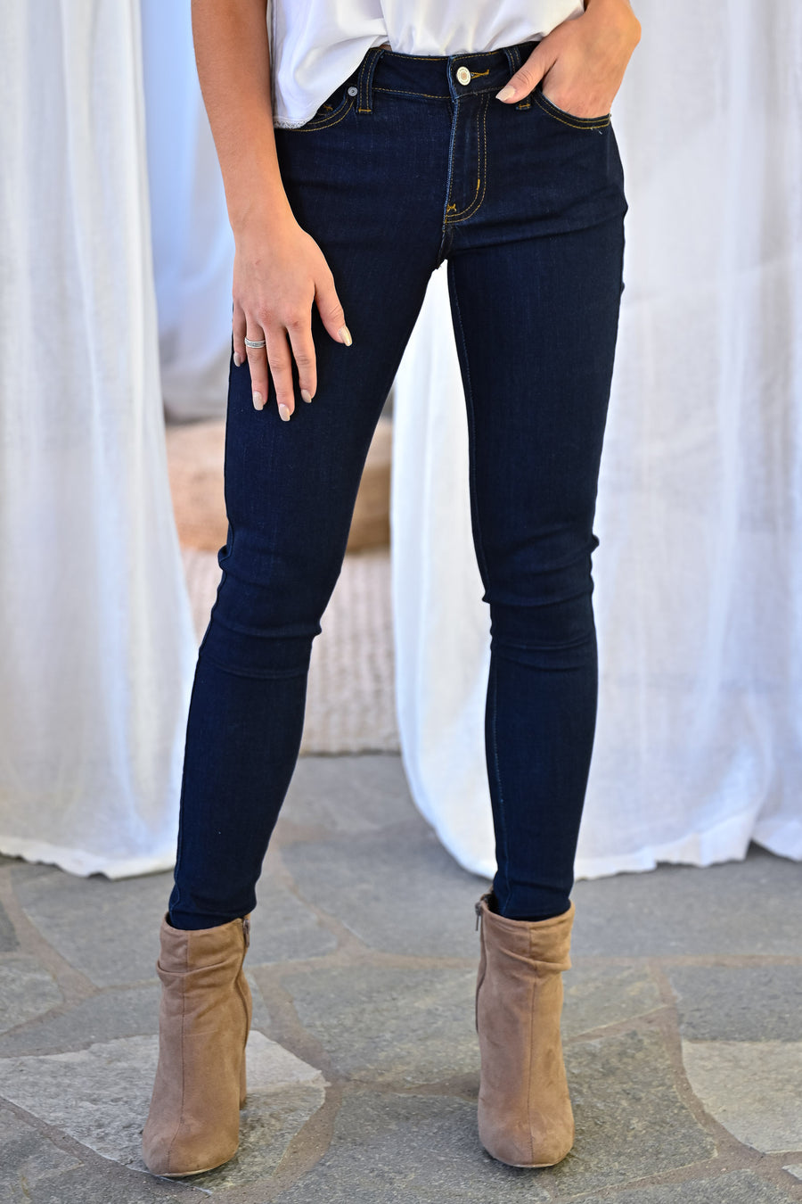 KAN CAN Liv Skinny Jeans - Double Dark Wash womens trendy solid mid-rise skinny jeans closet candy front