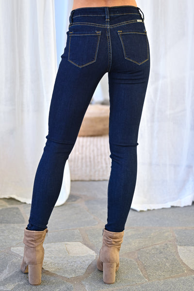KAN CAN Liv Skinny Jeans - Double Dark Wash womens trendy solid mid-rise skinny jeans closet candy back
