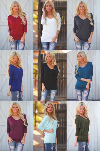 V-Neck Dolman Tunic Tops - v-neck 3/4 sleeve dolman tunic shirt, Closet Candy Boutique