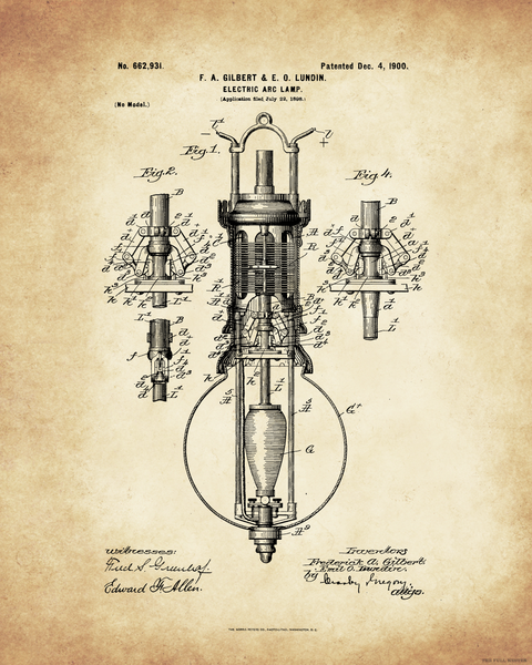 1900 Electric Arc Lamp Patent Drawing
