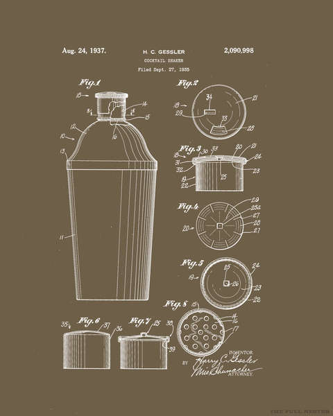 1937 Cocktail Shaker Patent Drawing