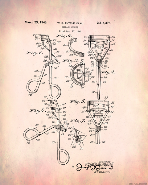 1943 Eyelash Curler Patent Drawing
