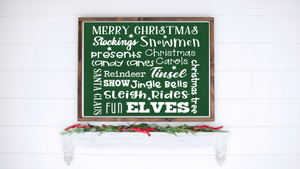 Christmas Words Green Collage printable