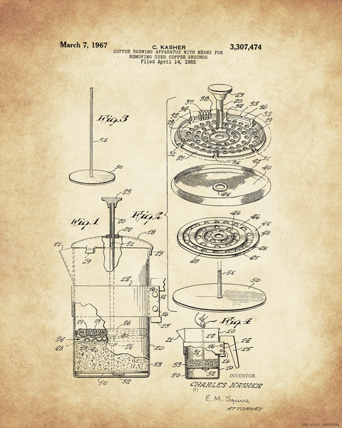 1967 Coffee Press Patent Drawing