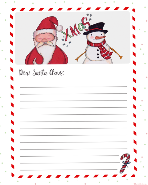 Dear Santa Christmas Letter printable