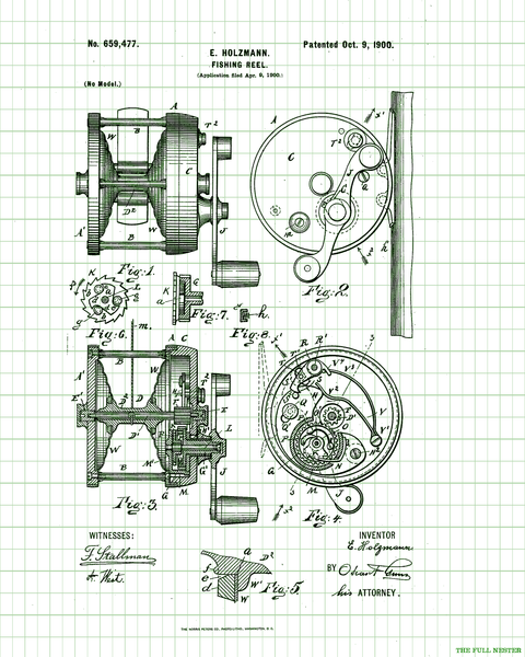 1900 Fishing Reel Patent Drawing