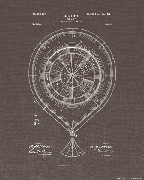1901 Set of Three Air Ship Patent Drawings