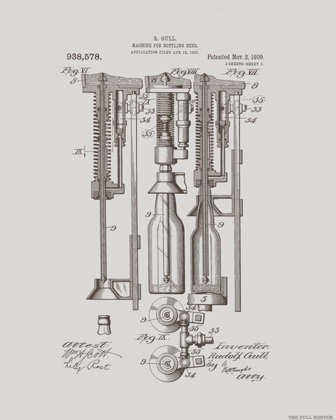 Set of Three 1909 Beer Bottling Machine Patent Drawings