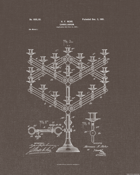 1901 Candelabrum Patent Drawing