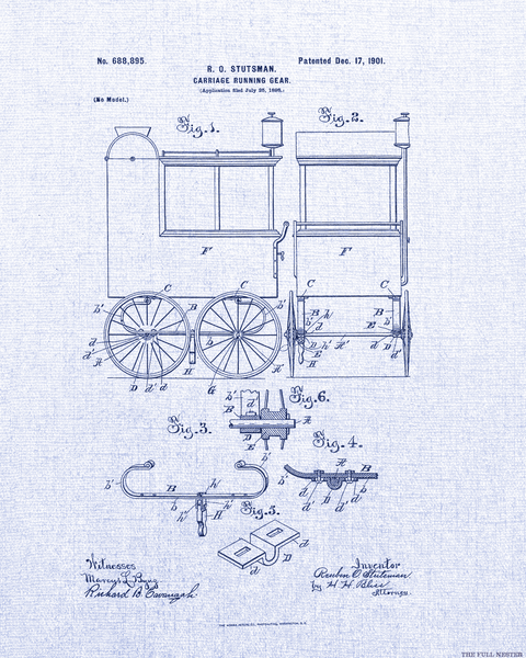 1901 Carriage Running Gear Patent Drawing