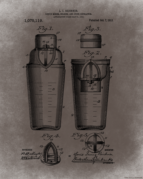 1913 Cocktail Shaker Patent Drawing