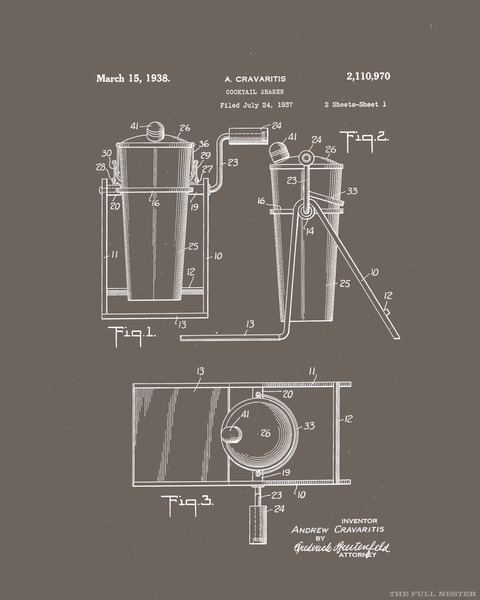 1938 Cocktail Shaker Patent Drawing
