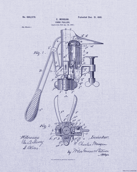 1901 Cork Puller Patent Drawing