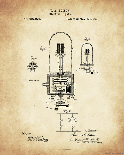 1880 Edison Electric Light Patent Drawing