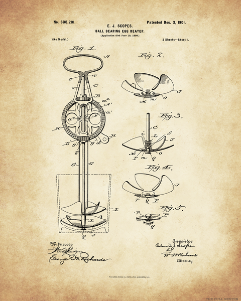 1901 Ball Bearing Egg Beater Patent Drawing