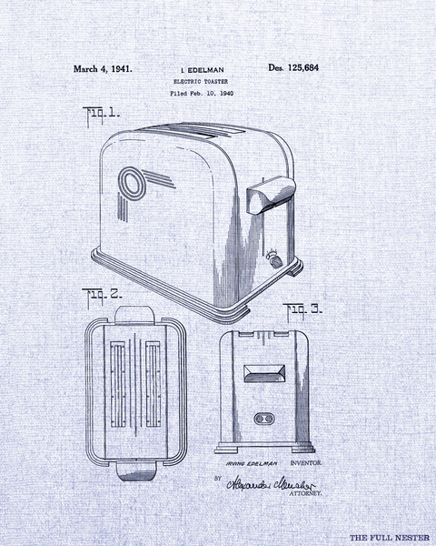 1941 Electric Toaster Patent Drawing