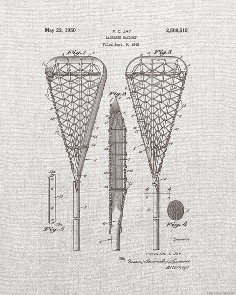 1950 Lacrosse Racquet Patent Drawing