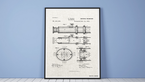 1891 Nautical Telescope Patent Drawing