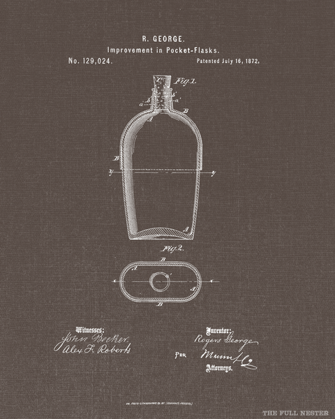 1872 Pocket Flask Patent Drawing