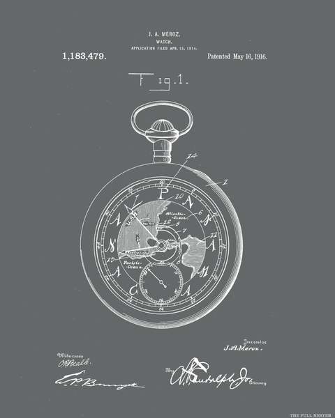 1916 Pocket Watch Patent Drawing