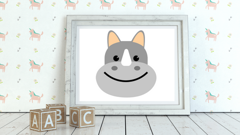Baby Jungle Rhino Nursery Printable