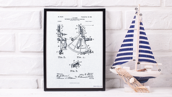 1902 Navigational Sextant Patent Drawing