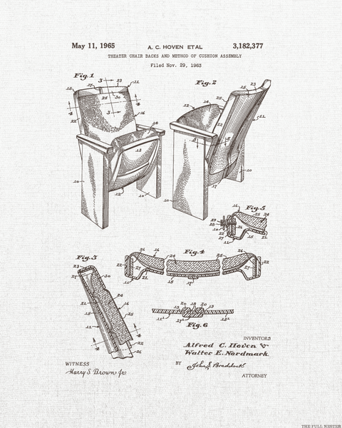 1965 Theatre Seat Patent Drawing