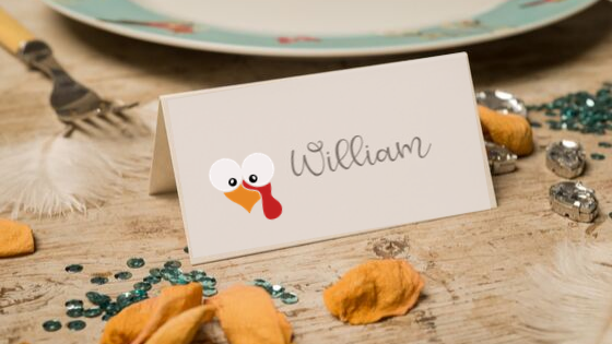 Turkey Face Placecards printable