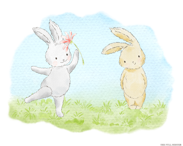Two Bunnies and a Flower Nursery Printable