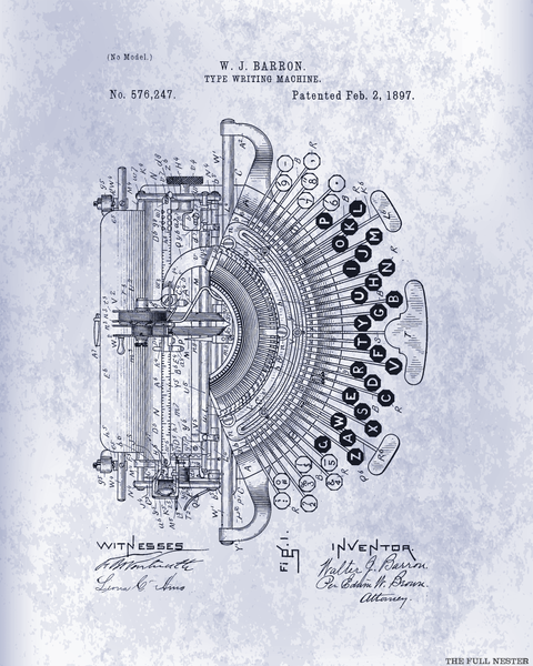 1897 Typewriter Patent Drawing