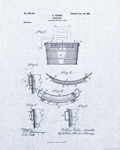 1901 Washtub Patent Drawing