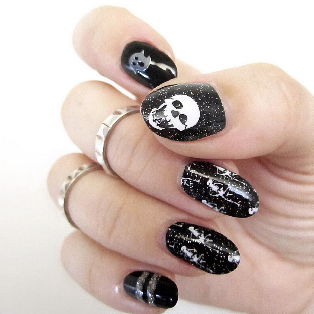 Dancing Skeletons - nail wraps - Scratch - 6