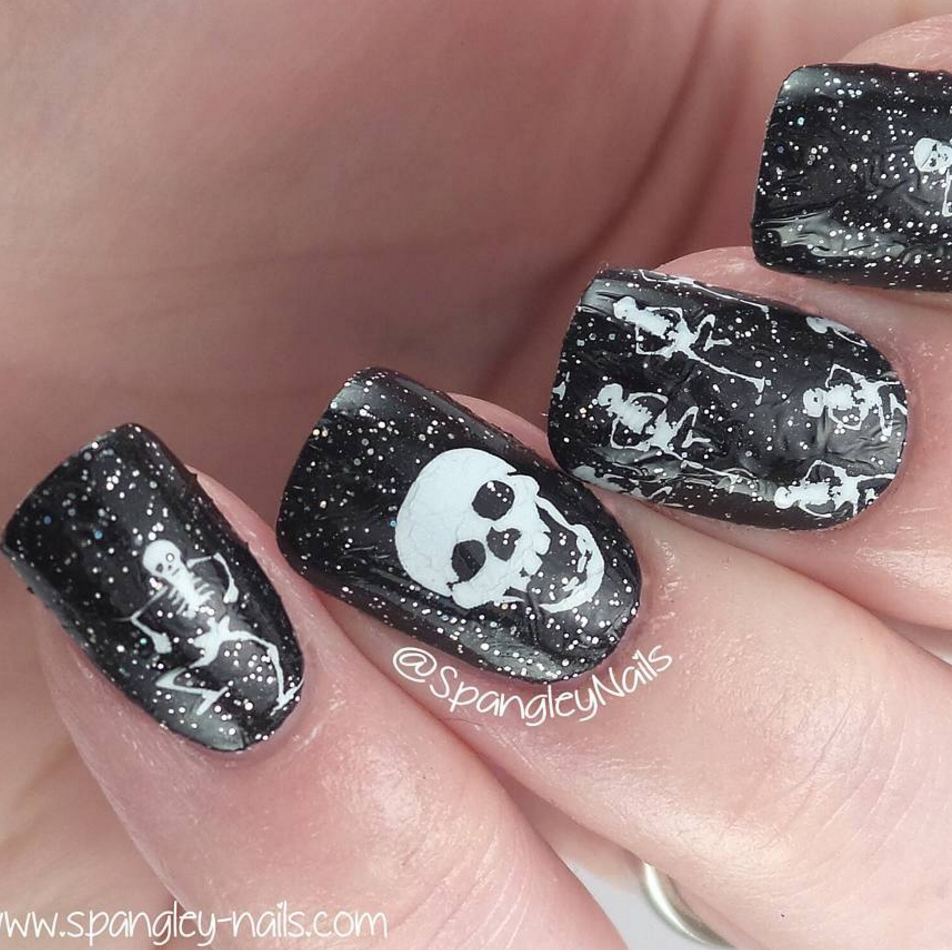 Dancing Skeletons - nail wraps - Scratch - 7