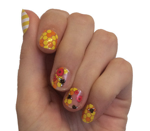 Bee Happy - nail wraps - Scratch - 1