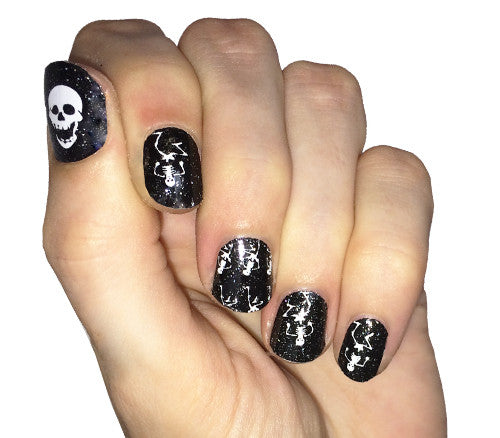 Dancing Skeletons - nail wraps - Scratch - 1