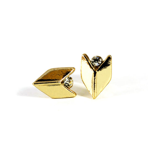 Stoned Chevron Stud Earrings