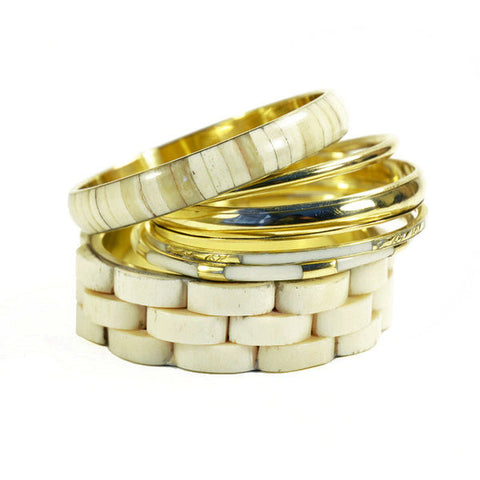 Organic White and Gold Bangles