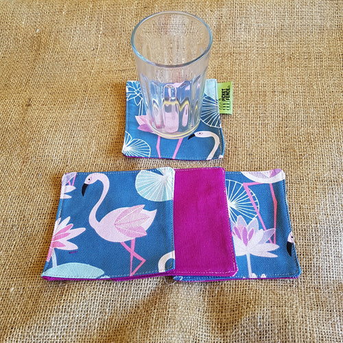 Cotton Coasters (Flamingos)