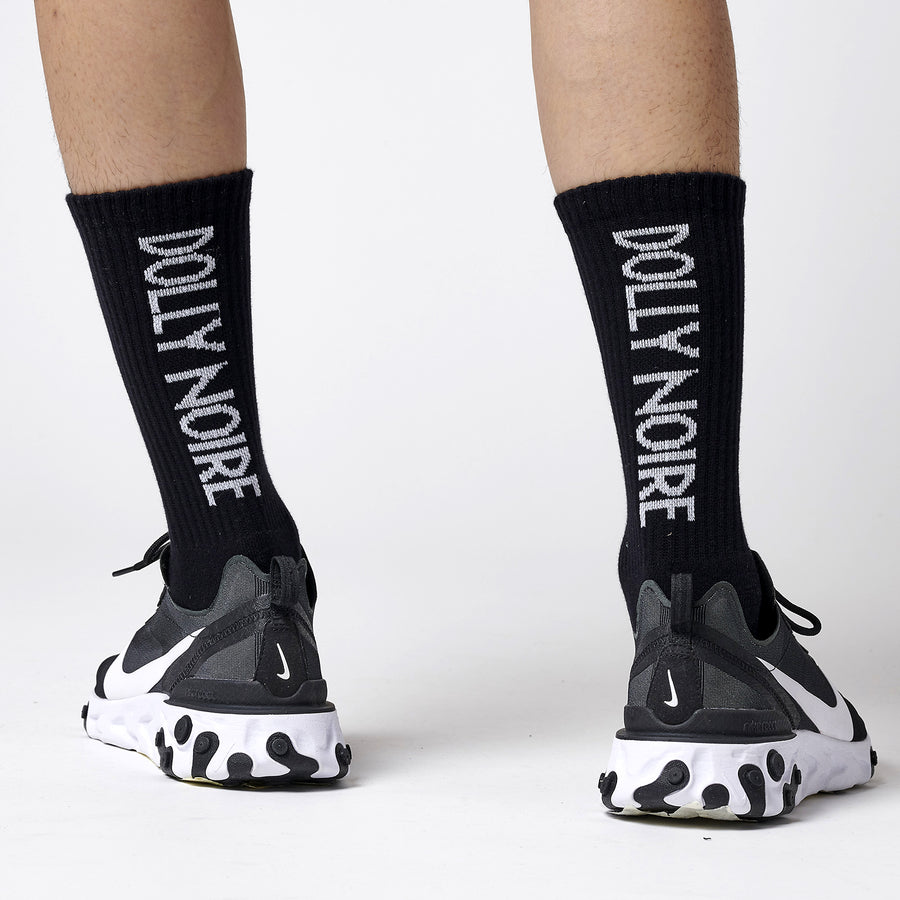 Vertical Logo Black Socks