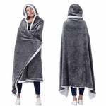Hooded Blanket Poncho Wearable Blanket Wrap for Adults