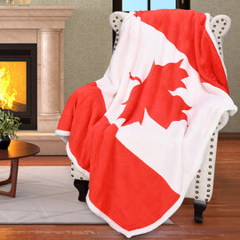Throw Blanket with Reversible Sherpa Fleece Flag Print Plush
