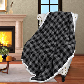 Throw Blanket with Plaid Sherpa Micro Fleece Reversible