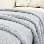 Throw Blanket with Fuzzy Reversible Sherpa Fleece Lining Plush