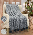 Sherpa Blanket with Soft Sweater Knitting Reversible