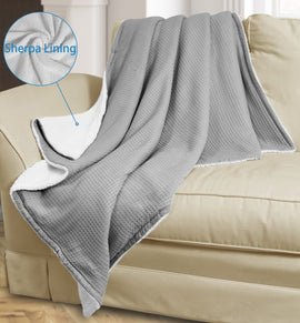 TV Throw Blanket Knit Waffle Lambswool Microfiber