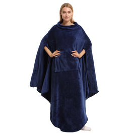 Fleece Wearable Blanket Poncho for Adult Women
