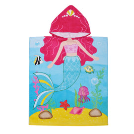 Wearable Towel 100% Cotton Mermaid Pattern Hooded Surf Poncho for Children (Ages 2-6)